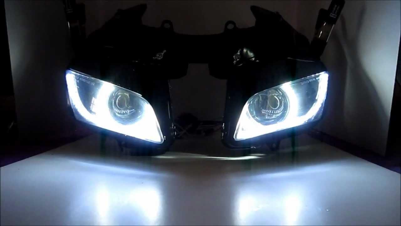 Honda Cbr 600rr Projector Headlights Bixenon Hid Dual Angel Eyes Halo By Bkmoto Youtube