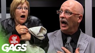 Businessman Appears in Elevator Prank - Just For Laughs Gags