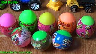 Surprise egg, Bóc trứng và học mầu sắc - Surprise eggs for Pokemon whistle fish and learn colours