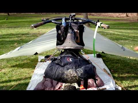 How to setup a tarp for bikepacking using your bike (Flying Diamond Pitch)