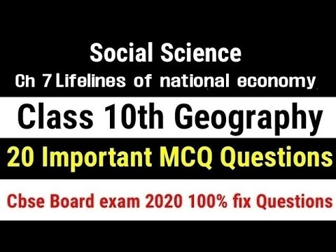 Class 10 Geography Chapter 7 Life lines of national economy Mcq | Cbse  Board 2020 Class 10 Mcq