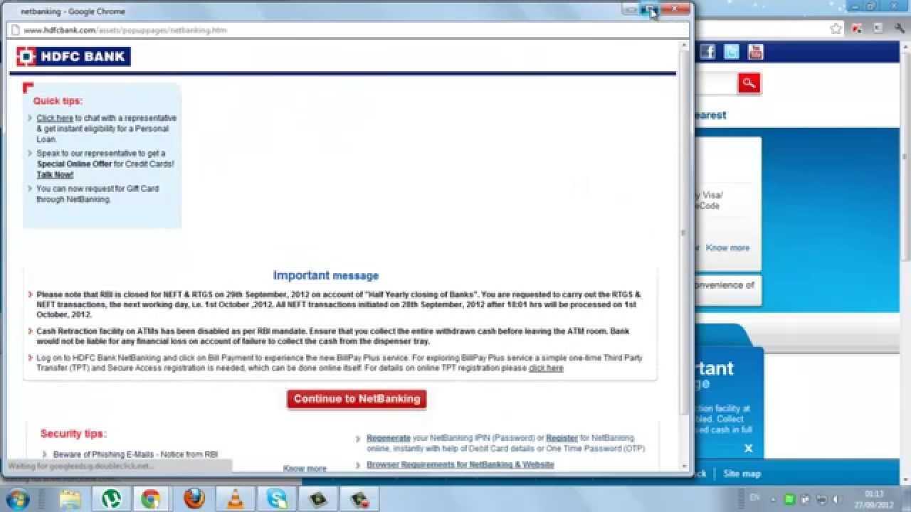 hdfc bank netbanking online registration