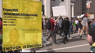 Activists demand reparations in downtown St. Louis protest