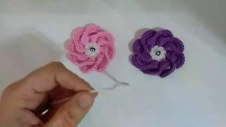 tığ işi kolay örgü çiçek nasıl yapılır/patik süsü yapımı