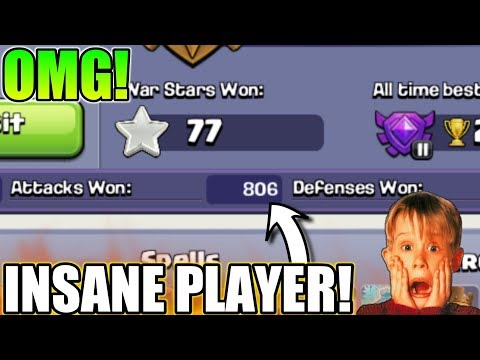 INSANE PLAYER IN CLASH OF CLANS | 800 ATTACK WON IN 20 DAY | clash of clans