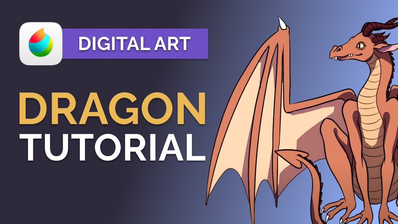 How to Draw a Dragon in MEDIBANG Paint Pro - Digital Art Tutorial (step by step)