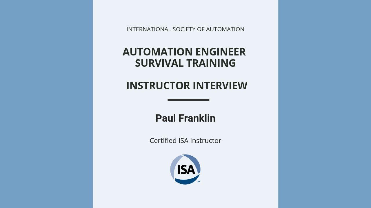 ISA Automation Engineering Survival Training (AEST)- ISA