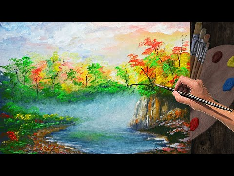 Forest with River and autumn trees basic painting tutorial | ART LESSON FOR BEGINNERS