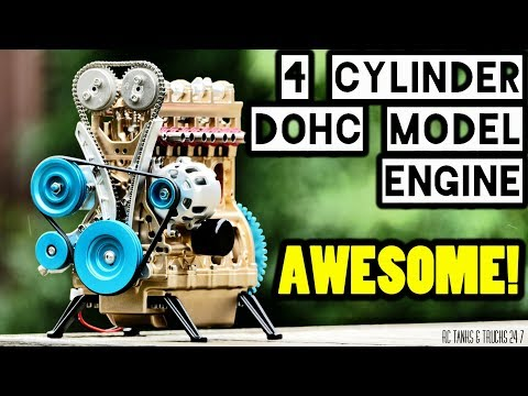 TECHING 4 Cylinder DOHC Model Engine - Build Series Part 2 - Completed