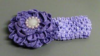 Flor de tecido para faixa ou gigolê e fivelas com três camadas