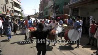 Drummers from Gulab Khan Dhol Wale Nashik create rhythm at Ajmer Urs