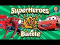 Spiderman vs venom vs batman vs monster trucks - Disney pixar frozen cars races disney games