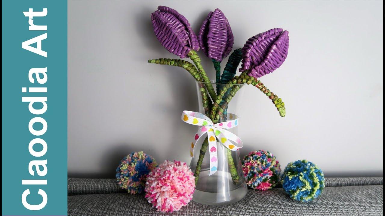 Tulipany Z Papierowej Wikliny Tulips Paper Wicker Diy Youtube