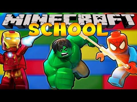 Minecraft School : SUPERHERO LEGO BUILDING CHALLENGE!