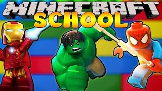 Minecraft School : SUPERHERO LEGO BUILDING CHALLENGE!