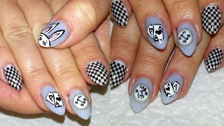 Cosplay Nail Art + Alice In Wonderland / White Rabbit + Almond Shaped Acrylic Nails