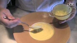 Meg Galus demos her Maple custard, cranberry compote, tangerine curd and crispy granola