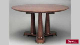 Antique French 1940s Blond Mahogany Round Dining Table