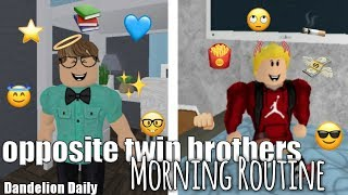 Opposite Twin Brothers Morning Routine | Roblox Bloxburg