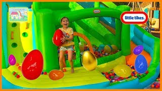 Egg Hunt for Big Surprise Eggs on Inflatable Bouncer with Water Slide! Outdoor Play
