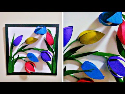 From Tissue Paper Roll to 3D Wall Decor - Easy DIY Flower Wall Decor/Art