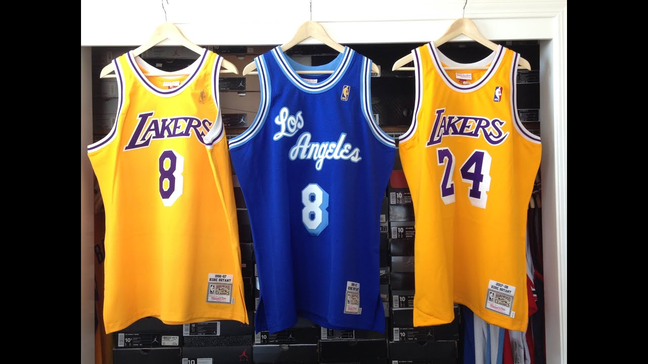 8c74f297bca Kobe Bryant Mitchell   Ness Jerseys - YouTube