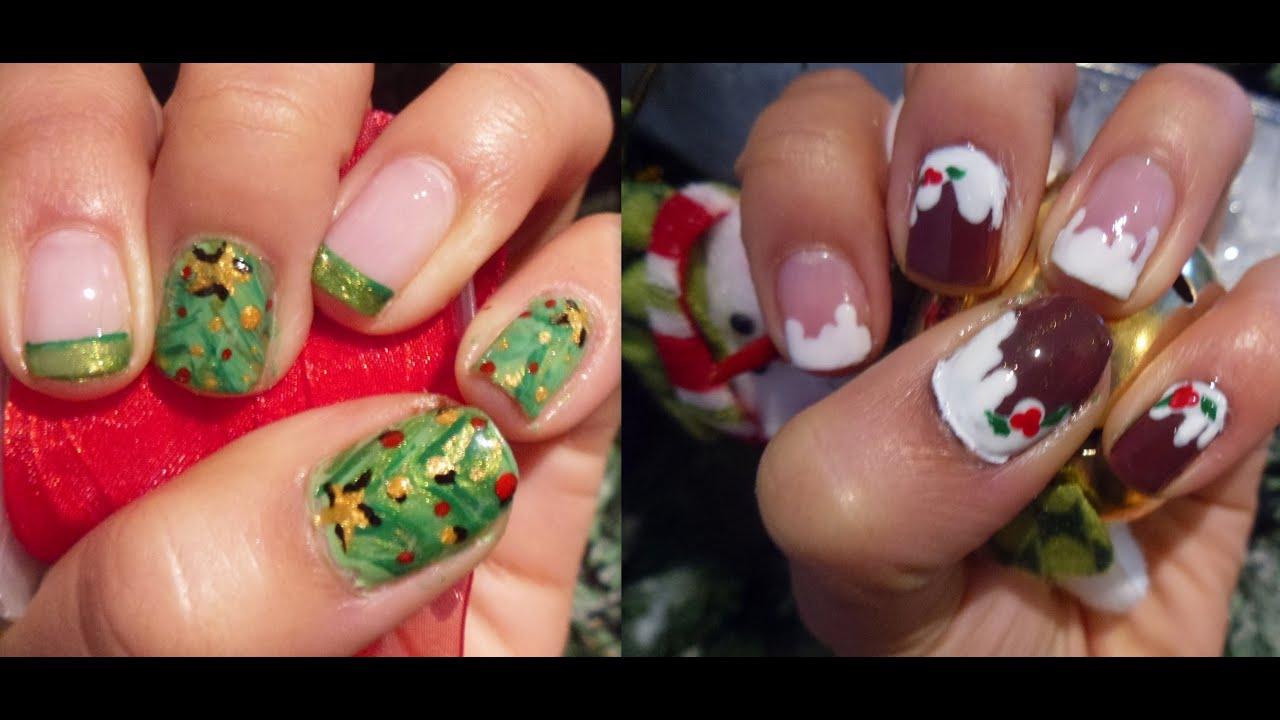 2 diseños de uñas fáciles para navidad// easy christmas nail designs ...