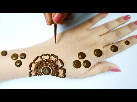 Best Arabic Henna Mehndi Trick of Florals| गोल टिक्की मेहँदी डिज़ाइन लगाना सीखे |Mehndi for Beginners