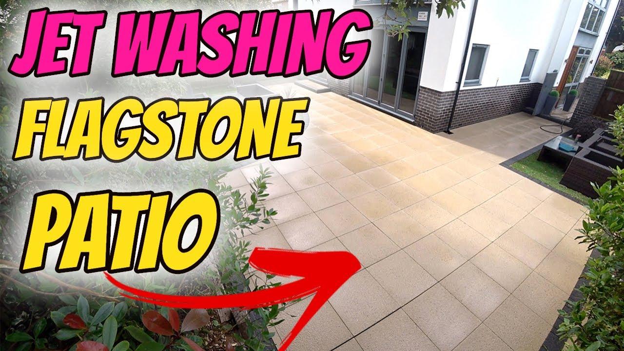 Flag stone patio pressure washing
