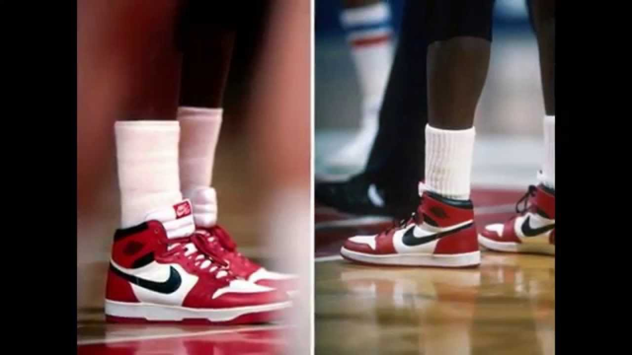 super popular 7dce9 4ff0d Michael Jordan wearing White / Red (Chicago) Air Jordan I (1)  retrospective. Including prototypes