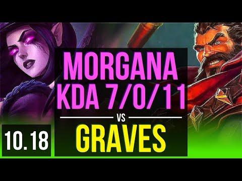 MORGANA vs GRAVES (JUNGLE)   KDA 7/0/11, 2 early solo kills, Godlike   EUW Grandmaster   v10.18