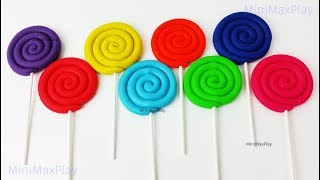 Learn Colors Play Doh Lollipops Hello Kitty Chip & Dale Minnie Mouse Molds Surprise Toys Rhymes