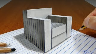3D Trick Art on Paper  Single Couch   Optical Illusion