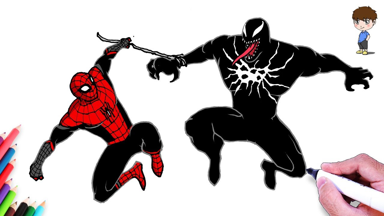 Comment dessiner spiderman vs venom facilement dessin de venom vs spiderman facile a faire - Dessiner spiderman facile ...
