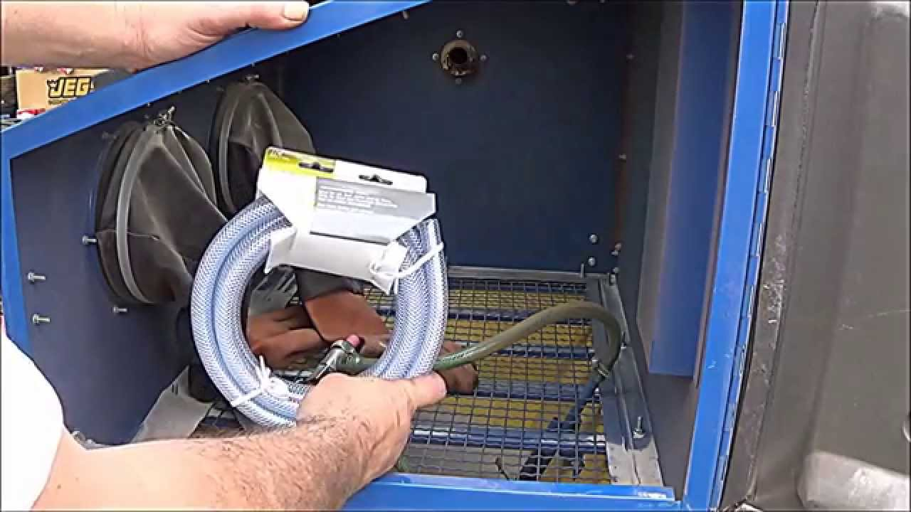 Sand Blaster Cabinet Sandblasting Cabinet And Install Hose Connections Equipment Youtube