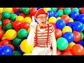 Funny clown videos - Inflatable car and balls in pool