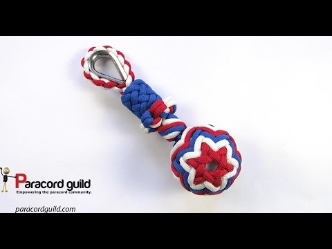 3 color paracord golf ball key fob
