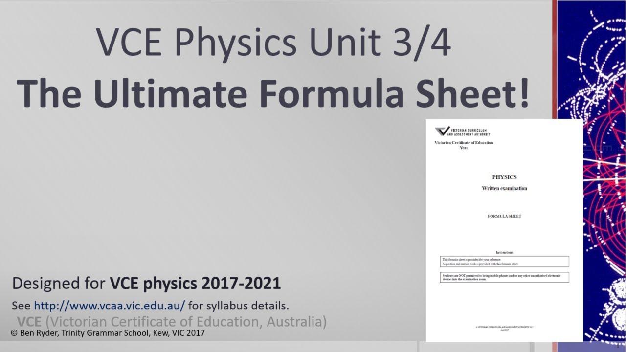 vce physics the ultimate formula sheet youtube