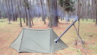 Zapętlaj Pup Tent Modifications - Bushcraft Shelter Hot Tent | Running Stream