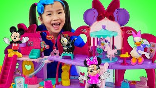 珍妮假装玩米妮老鼠购物中心Jannie Pretend Play Minnie Mouse Shopping Mall Playset