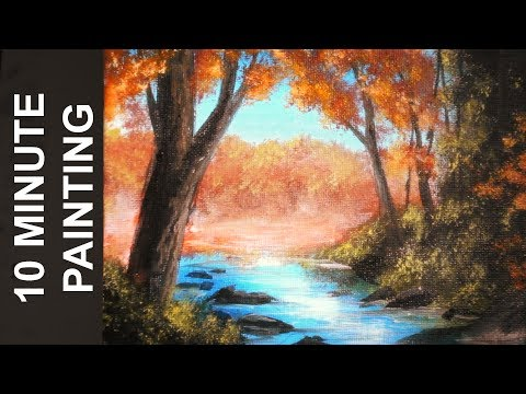 Painting a Misty Fall Forest Landscape with Acrylics in 10 Minutes!