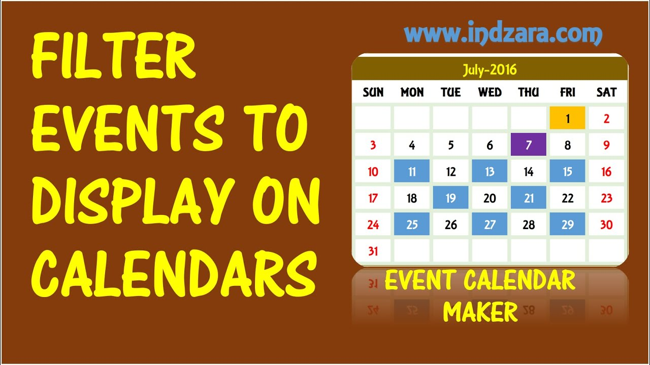 event calendar maker excel template - filter events