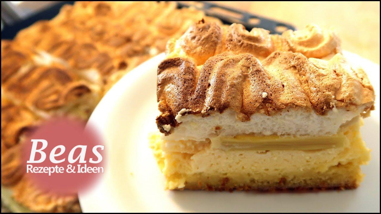 Rhabarberkuchen Rezept Mit Baiser Und Puddingcreme Vom Blech
