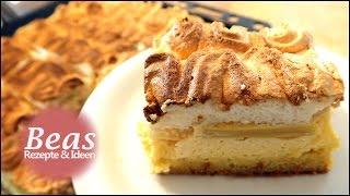 RHABARBERKUCHEN Rezept mit Baiser und Puddingcreme vom Blech | Backen