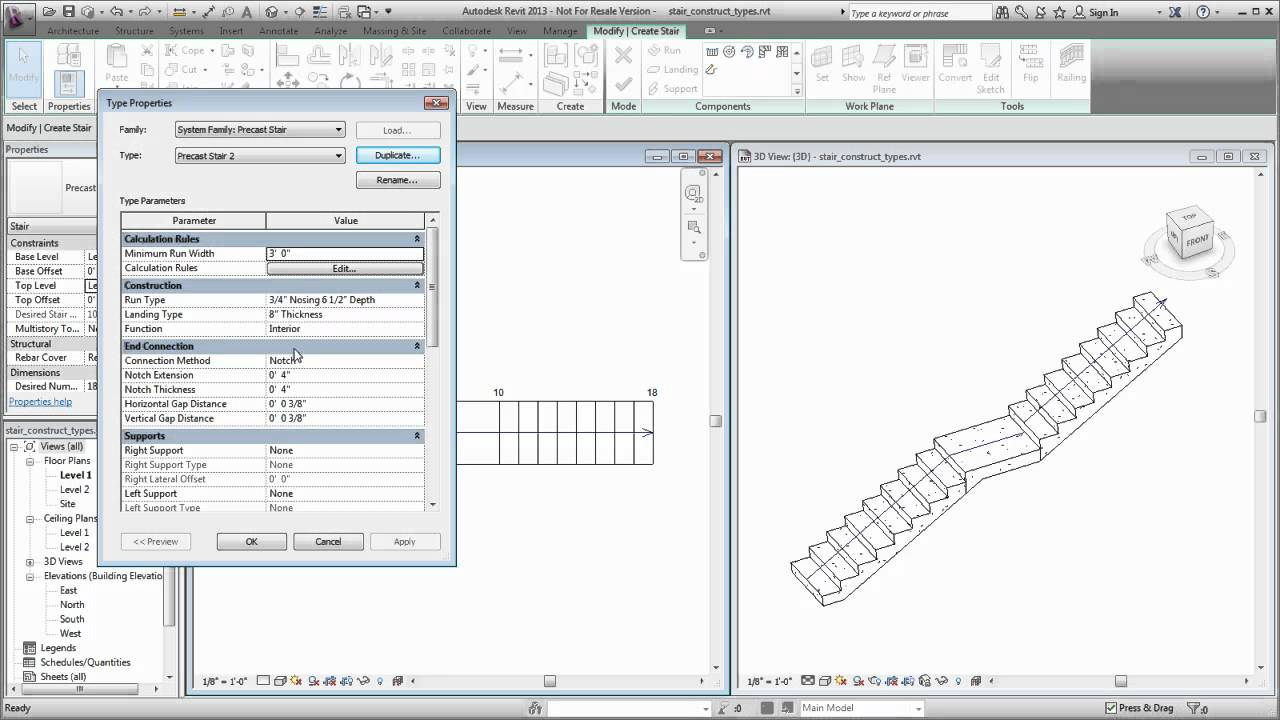 Autodesk Revit: Defining Construction Types For Stairs