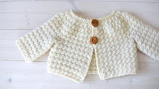 How to crochet a simple textured baby / children's cardigan - The Esme Cardigan