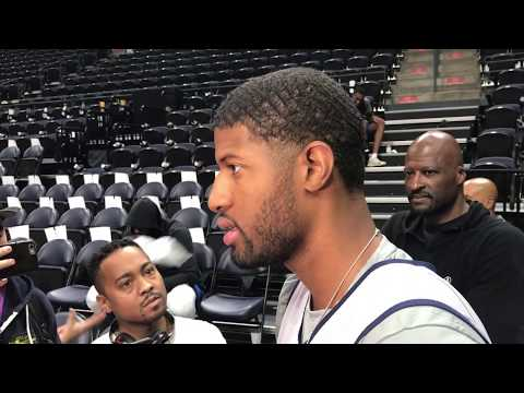 Paul George's media scrum blocks Thunder practice, including Russell Westbrook | ESPN
