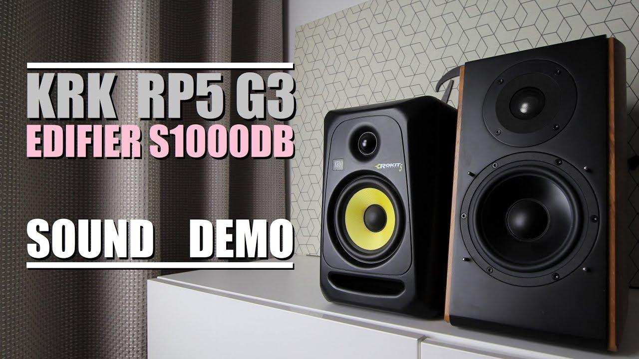 KRK Rokit 5 RP5 G3 vs Edifier S1000DB  ||  Sound Demo w/ Bass Test