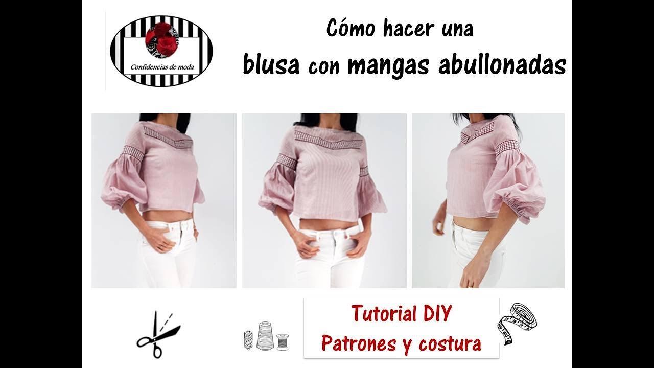 DIY. Blusa con mangas abullonadas (shirt for women). Tutorial ...