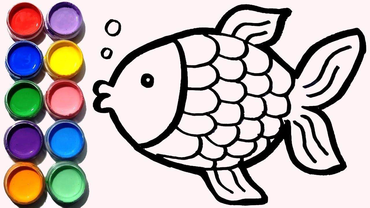 Cara Menggambar Dan Mewarnai Ikan Koki Pelangi Youtube
